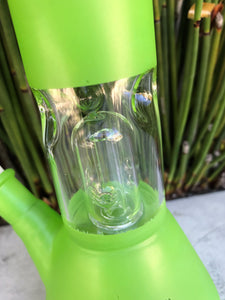 "8"" Cool Lime Green Beaker Bong with Dome Perc. Ice Catcher & Glass Stem w/Attached Bowl"