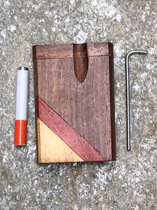 "Pocket Size 3"" Natural Wood Dugout Stash Box Meta Cigarette Poker Cleaning Tool"