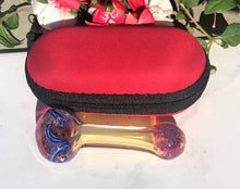 "3.5""  Fumed Glass Spoon Pipe with Zipper Padded Case - Red"