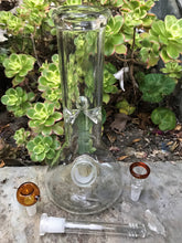 "10"" Thick Glass Beaker Style base Bong w/ Ice Catchers + 2 - 14mm Male Bowl slider pieces"