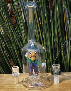 "9"" Collectible Glass Luigi in Rig with Shower Perc & 2 - 14mm Male Slide Bowls"