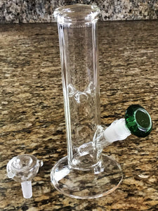 "10"" Thick Straight Neck Glass Bong w/ 14mm Male Glass Gem Bowl Sliders"