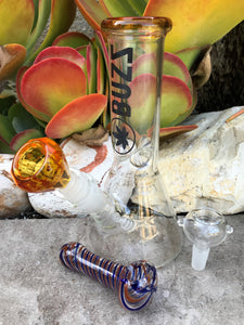 "High Quality Best 8"" Glass Water Bong 2 Herb Bowls 3"" Glass Hand Pipe - Volo Smoke and Vape"