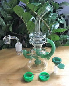 "8"" Recycler with Shower Perc Bong in Jade Green and 2 - 14mm Male Thick Bowls, Silicone Container + Tool"