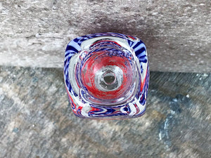 18mm Male Thick Glass, Square Shape, Herb Bowl - Colors Vary