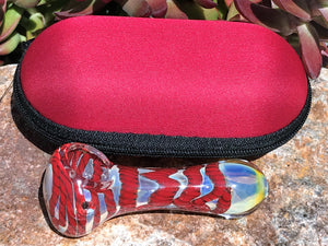 "New! 3.5"" Quality Fumed Glass Handmade Spoon Best Hand Pipe Zipper Padded Case"