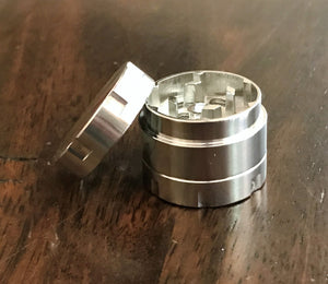 "Mini Metal 3 Part Silver 1"" Grinder"