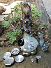 "Best 10"" Soft Glass Bong w/2 Bowls 4 Part Grinder Sherlock Glass Pipe - Volo Smoke and Vape"