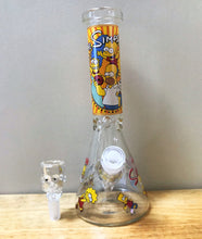 "Thick Glass 10"" Beaker Bong The Simpson Design 14mm Bart Thick Glass Bowl"