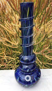 "Blue 16"" Thick Soft Glass Hookah Water Bong , 3 - 14mm Male Slide Blue Bowls"