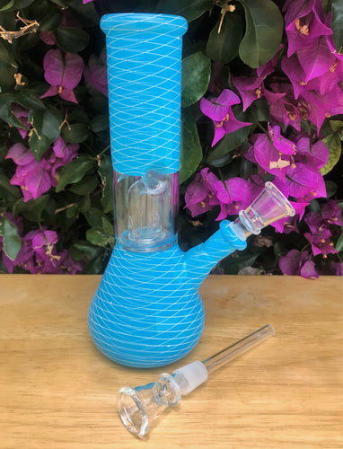 "Baby Blue 8"" Glass Beaker Style Base Bong w/ Dome Perc & Ice Catcher"