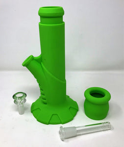 "Silicone 10.5"" Straight Bong Detachable Mouth Piece 14mm Herb Bowl"