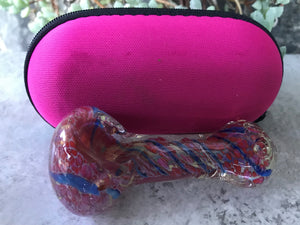 "3.5"" Thick Glass Handmade Spoon Hand Pipe w/Zipper Padded Hard Case - Pink"