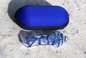 "Best Thick Fumed Glass 4"" Hand Spoon Pipe with Zipper Padded Hard Case"