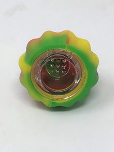Thick Silicone Herb Bowl 14mm/18mm Dual Use with Glass Screened Bowl - Rasta