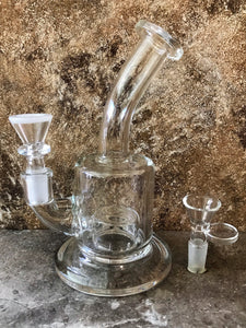 "7"" Thick Clear Glass Rig Dome Percolator with 2 - 14mm Male Herb Bowls"