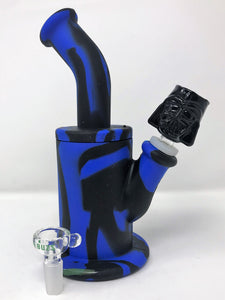 "Best 8"" Detachable Silicone Water Bong Darth Vader Black Bowl + Extra Bowl"