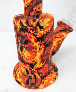 "Fire Skull Silicone Detachable Unbreakable Jug 8"" Bong 14mm Bowl"