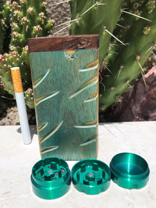 "4"" Wood Dugout Stash Box Green Design Mini 3 part Grinder"