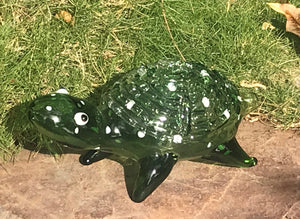 "Collectible 6"" Handmade Green Glass Turtle Hand Spoon Pipe w/Carb Hole"