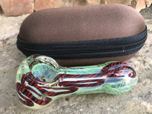 "New 4"" Thick Glass Handmade Hand Pipe w/ Zipper Padded Hard Case - Volo Smoke and Vape"
