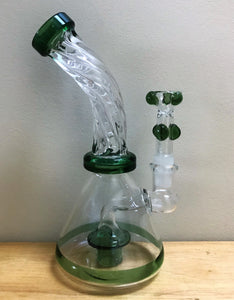 "Quality Glass Shower Perc Best 7.5"" Water Rig 14mm Male Slide Bowl - Forest"