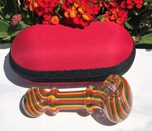 "Thick Glass 4"" Tobacco Smoking Spoon Hand Bowl Pipe Zipper Padded Hard Case"