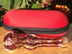 "Best 5.5"" Handmade Glass Hand Pipe w/ Zipper Padded Hard Case - Volo Smoke and Vape"