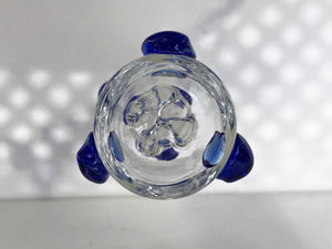 18mm Male Thick Glass Slide Bowl with Star Screen - Blue