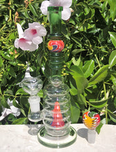 "9.5"" Tropical Colors Glass Water Bong w/Volcano & 2 - 14mm Bowl Pieces - All colors may vary"