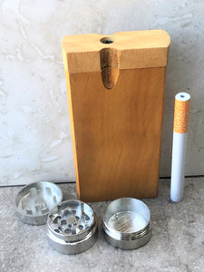 "4"" Solid Wood Tobacco Dugout Stash Box Aluminum Bat Grinder"