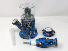 Silicone Double Chamber Water Bong with Honey Straw Quartz Banger Slide Bowl