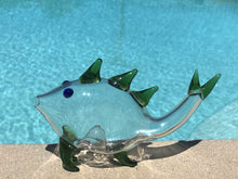 "6"" Collectible Handmade in Thick Glass Fish Hand Pipe with Green Fins"