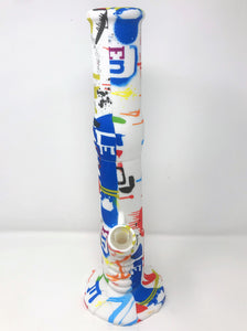 "14.5"" Detachable Silicone Bong Pipe in Cool Graphics with Ice Catcher & 2-14mm Slide Bowls"