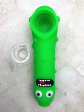 "5"" Pickled Character Silicone Hand Pipe with Glass Screen Bowl"