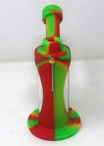 "Glass and Silicone 7"" Dab Rig Detachable Silicone Shower Perc 14mm Bowl Tool"