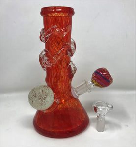 "8"" Thick Heavy Soft Glass Bong w/Glow in the Dark 2 - 14mm Thick Glass Bowls - Hot Chile"