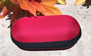 "5"" Red Padded Pouch Hard Case Protective For Glass Pipe Storage Zipper Travel"