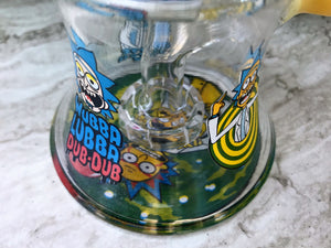 Thick Glass Shower Perc Rig Pipe Rick & Morty Beaker 2 -Slide Bowls