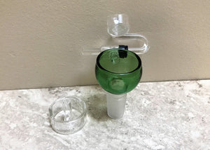 18mm Quartz Male Honey Bucket with Carb Cap - Green Bowl