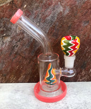 "Thick Glass 6"" Water Rig Colored Shower Perc. 14mm Male Colored Glass Bowl - Tangerine"