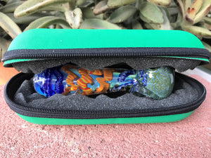 "Handmade 4"" Best Glass Hand Pipe w/Zipper Padded Pouch - Volo Smoke and Vape"