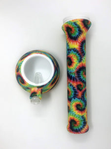 "NEW! Tie Dye Design Silicone Detachable 13"" Bong Glass Downtem Colored Bowl"