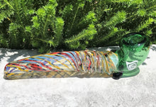 "New! 7"" Thick Fumed Glass Sherlock Hand Pipe Swirl with Green Bowl"