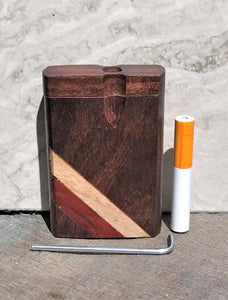 "3"" Natural Dark Wood Stash Box with Two Tone Angle Stripes, Metal Rod and Cleaning Tool"