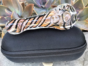 "Handmade Best Thick Glass 4.5"" Spoon Pipe Swirl Design Zipper Padded Pouch - Volo Smoke and Vape"