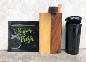 "Swivel Top Wood Dugout One Hitter With 4"" Bat Pop Top Cont. Smell Proof Bag"
