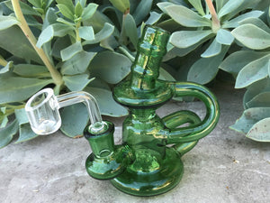 "5"" Double Recycler Dab Rig Thick Green Glass Shower Perc Quartz Banger"