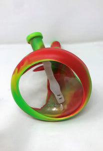 "NEW! Silicone & Glass 10"" Beaker Hybrid Bong Ice catcher 2 - 14mm Bowls - Rasta"