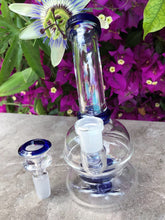"Best Thick Glass 6"" Shower Perc Water Rig 14mm Slide Bowl - Blu Crystal"